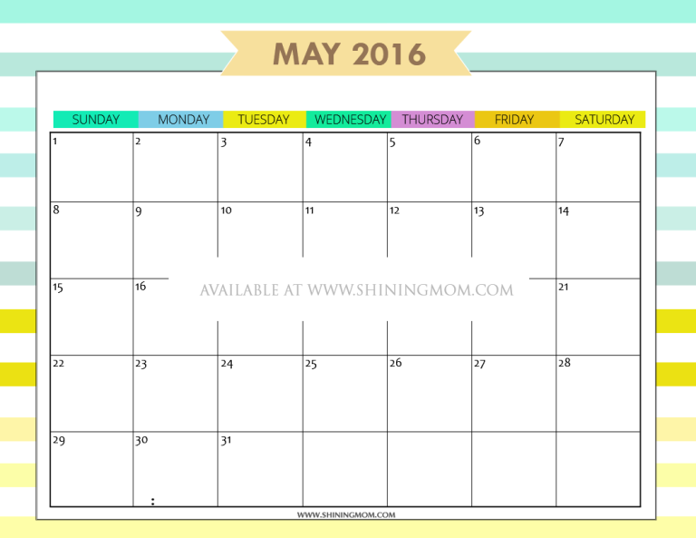 free printable May 2016 calendar cute