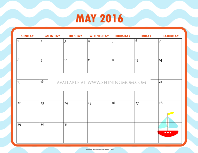 free printable May 2016 calendar for kids