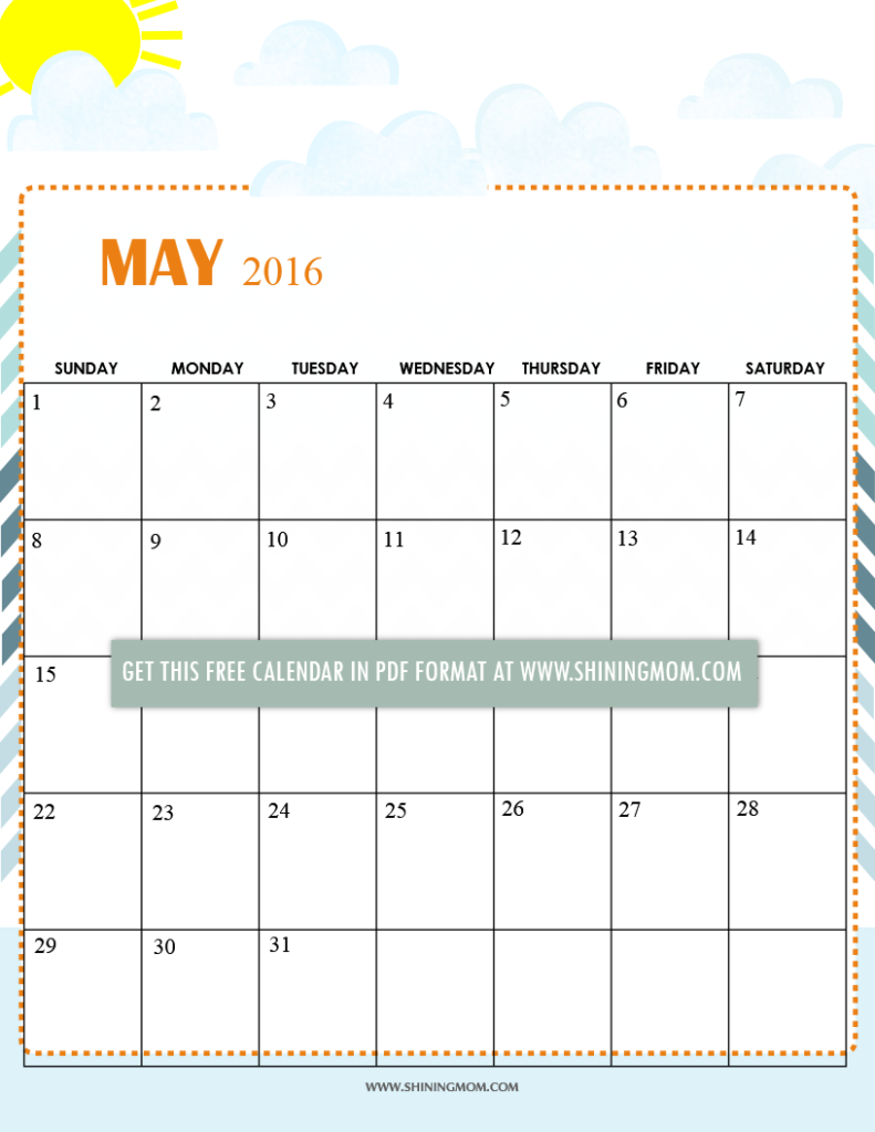 free printable May 2016 calendar summer