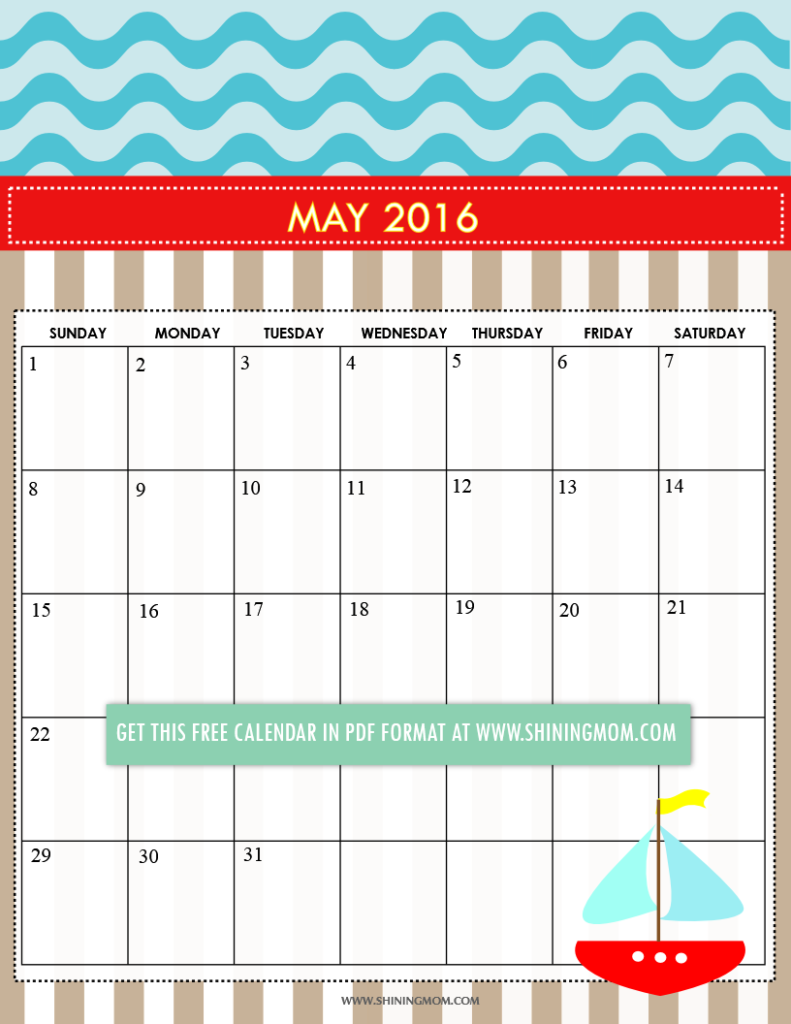 free printable cute May 2016 calendar