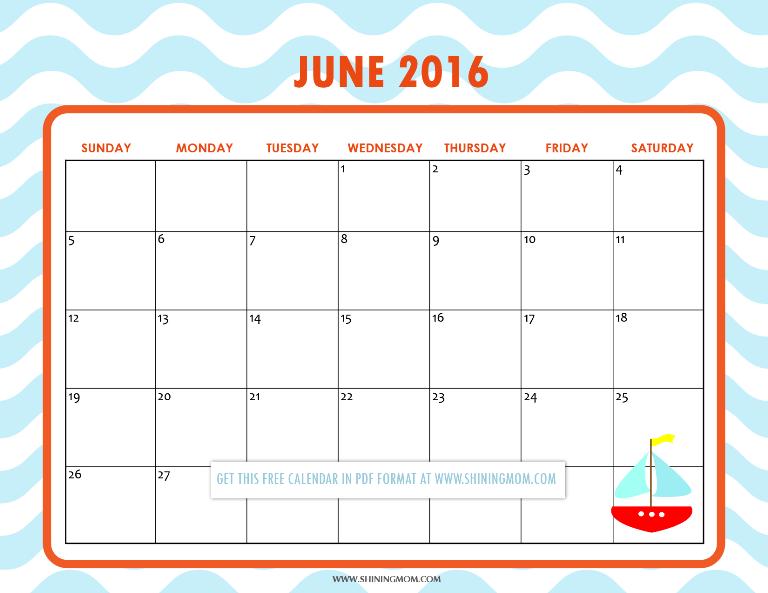 cute free June 2016 calendar