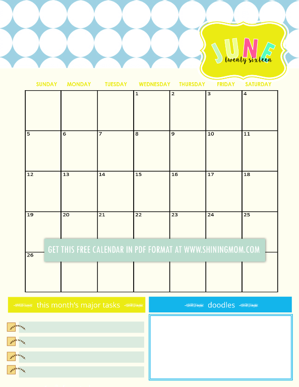 free calendar for june 2016 with notes