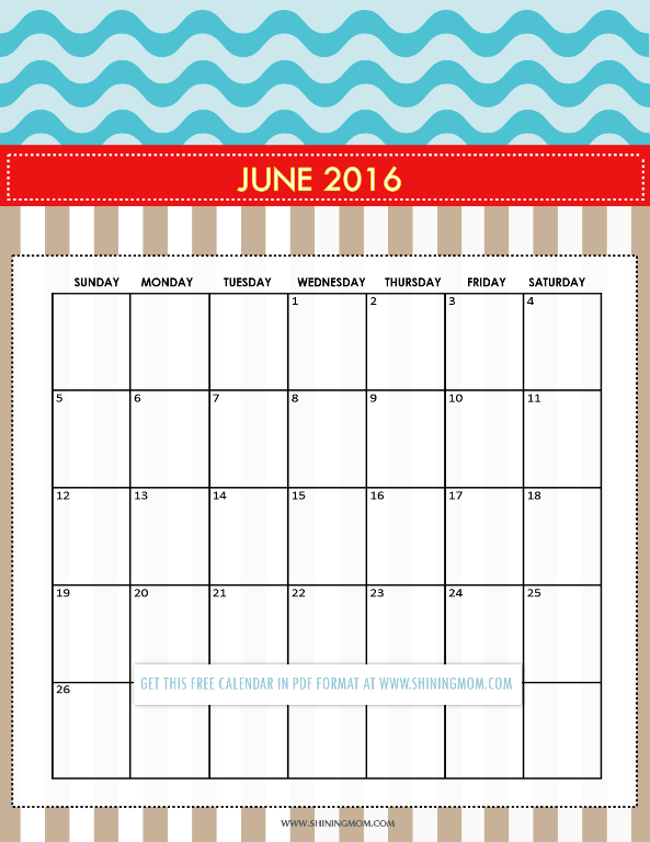 free printable June 2016 calendar Cute