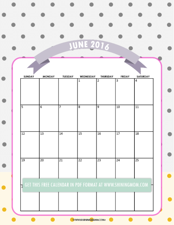 free printable June 2016 calendar pretty