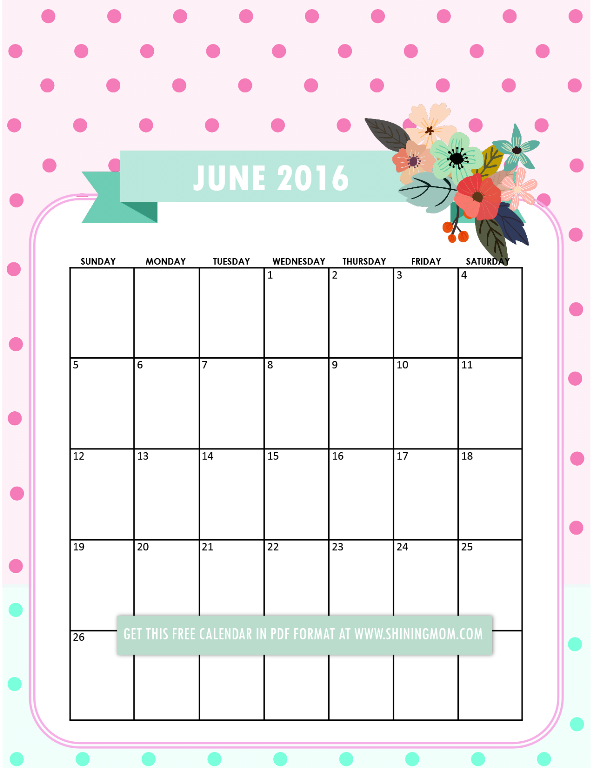free printable June 2016 calendar via shining mom