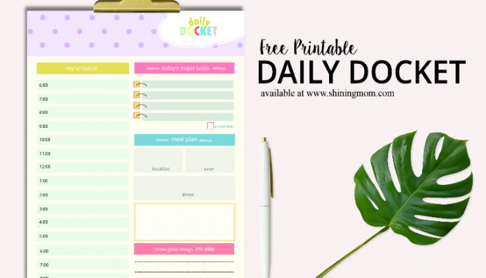 This DAILY DOCKET Can Save Your Day! {FREE Printable}