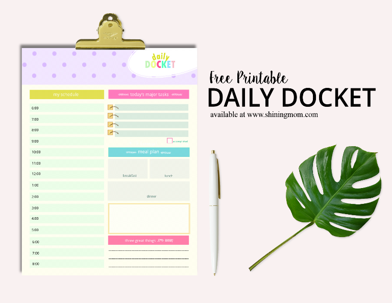 free printable daily docket