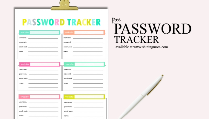 Free Printable Password Tracker!
