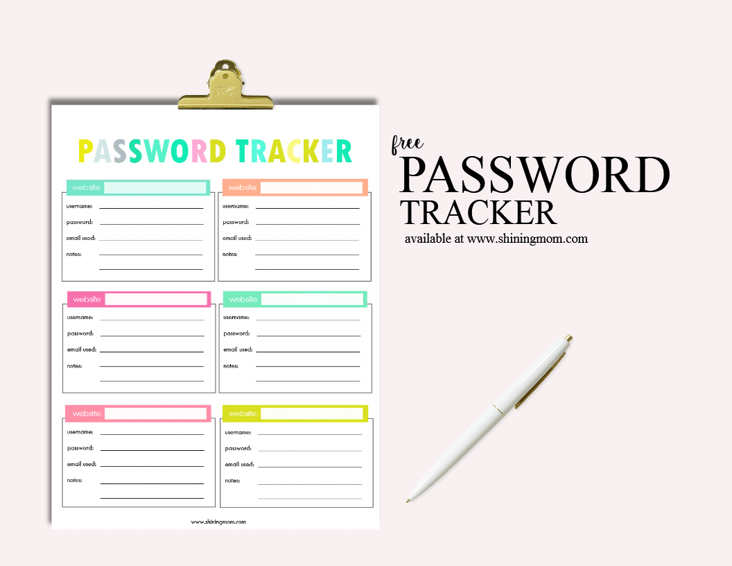 photograph regarding Password Printables called Cost-free Printable Pword Tracker!