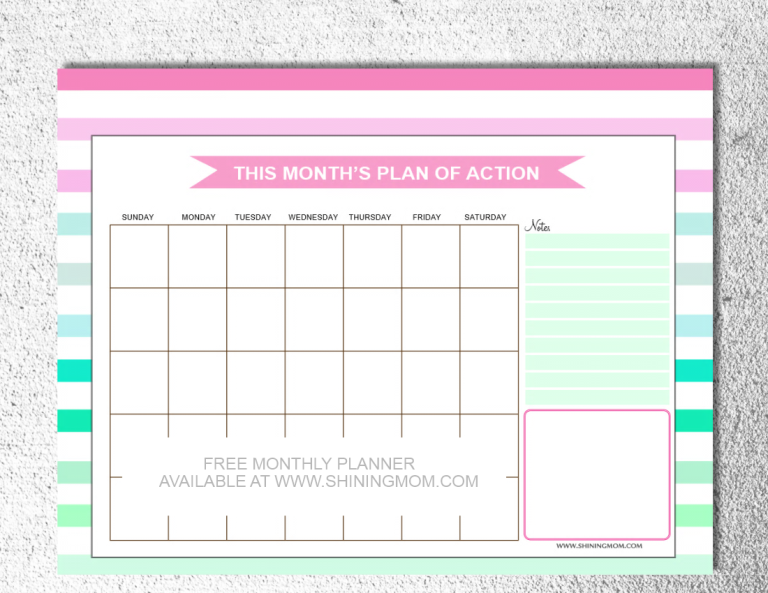 printable monthly planner via shining mom