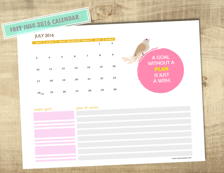 free July 2016 calendar with notes