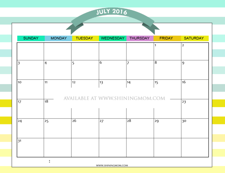 free printable July 2016 calendar colorful