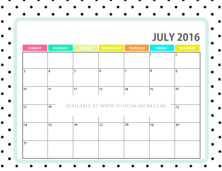 free printable July 2016 calendar cute