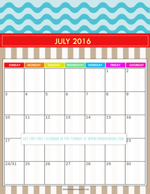 free printable July 2016 calendar for kids