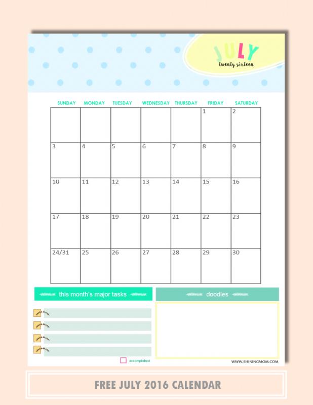 free printable July 2016 calendar planner