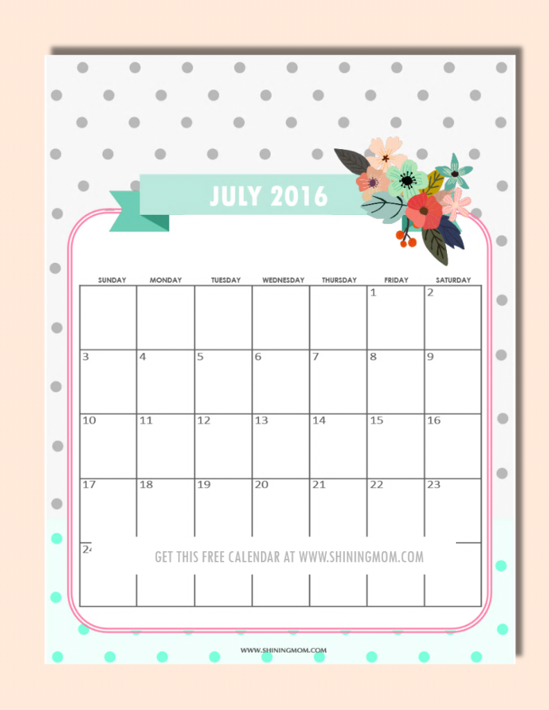 free printable July 2016 calendar with flower design