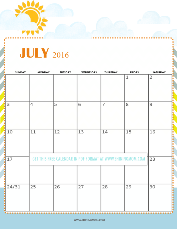 free printable summer themed july 2016 calendar