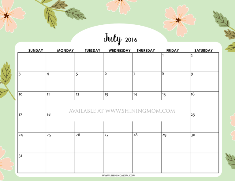 pretty free printable July 2016 calendar