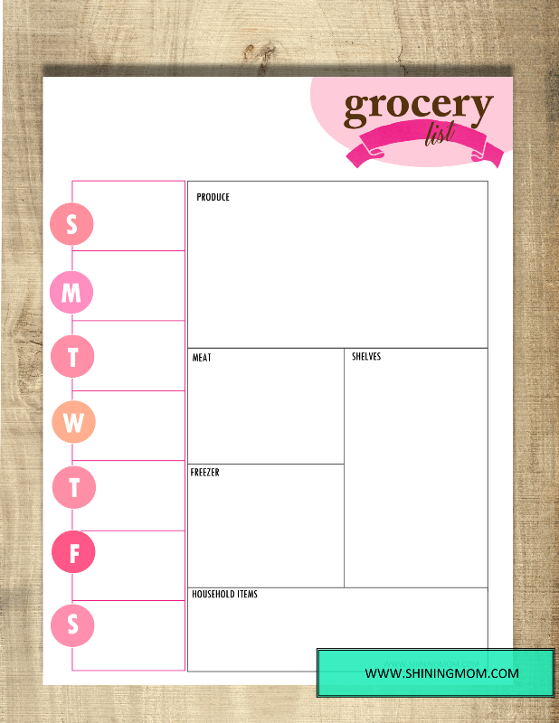 printable grocery list pin