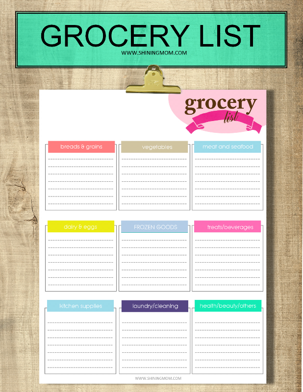 printable grocery list