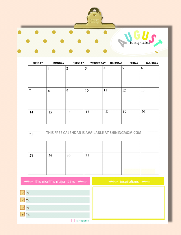 free August 2016 calendar with notes