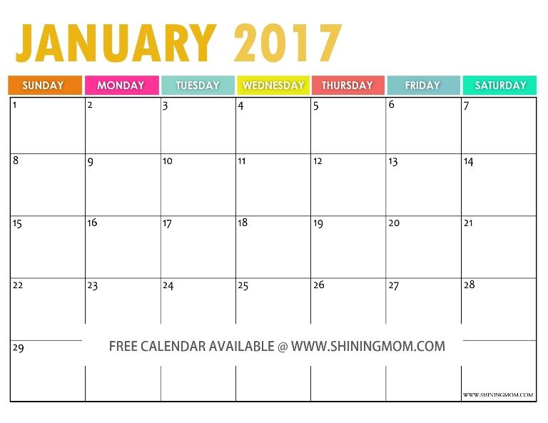Free January 2016 Calendar!