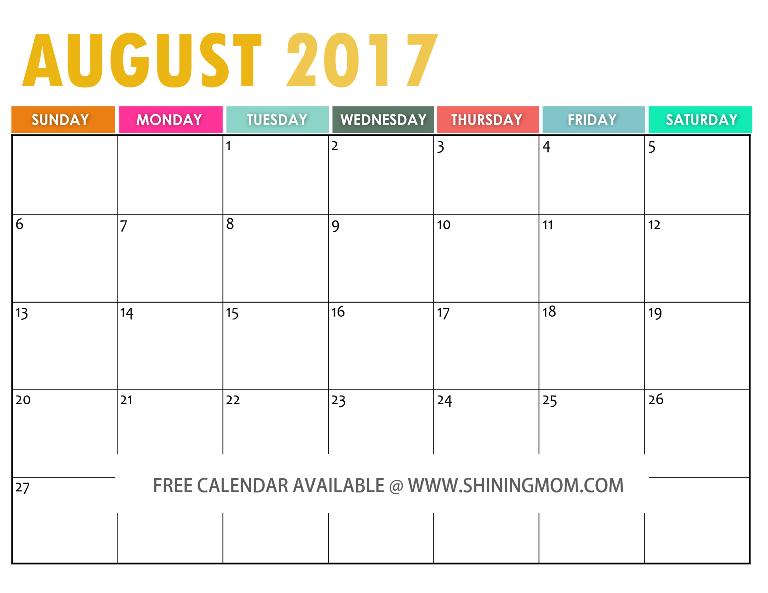 free printable August 2017 calendar