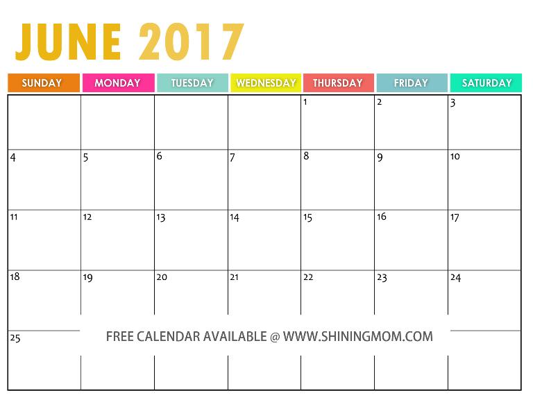 free printable June 2017 calendar