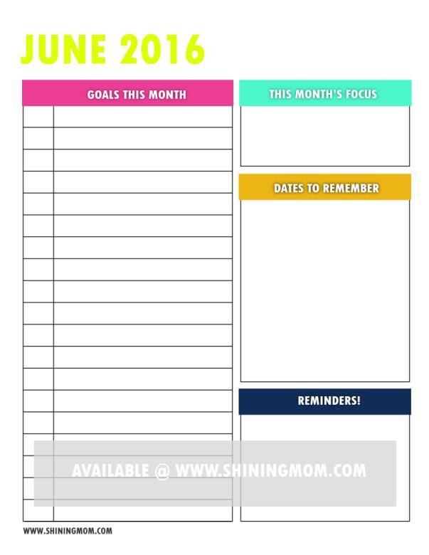free printable goal setting page 1