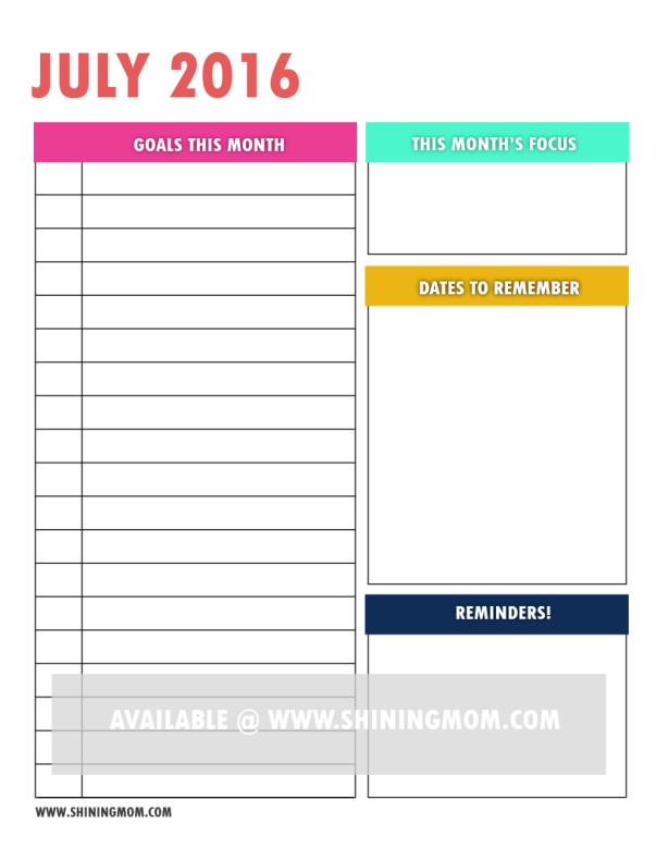 free printable goal setting page 2