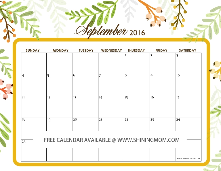 September 2016 calendar free