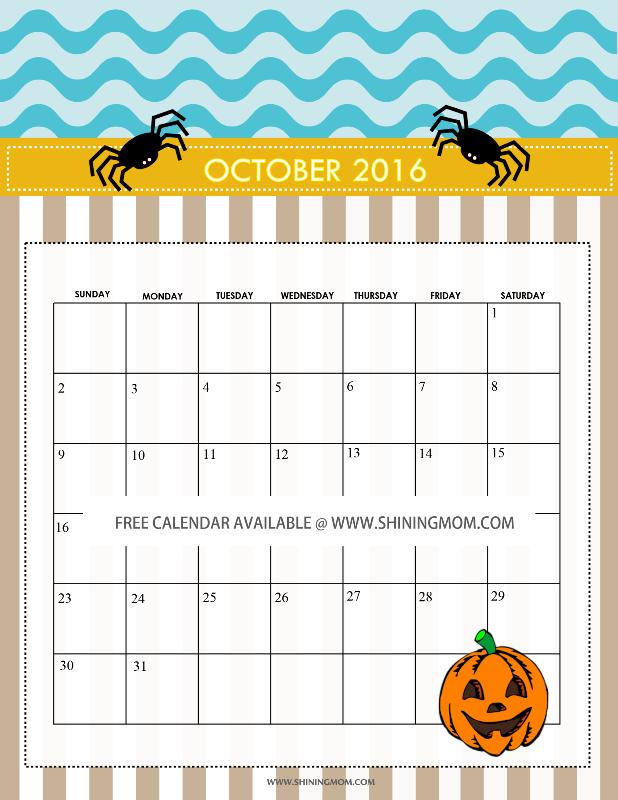 free Halloween calendar