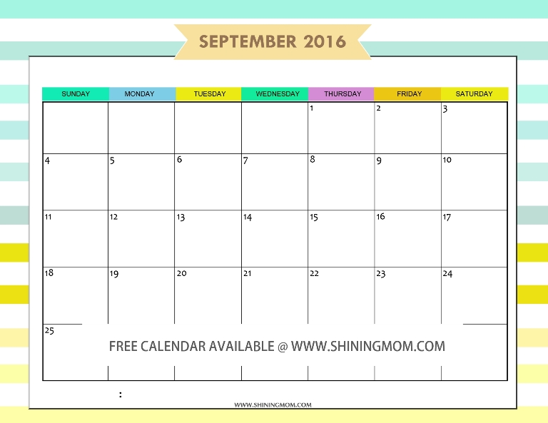 free September 2016 calendar printable