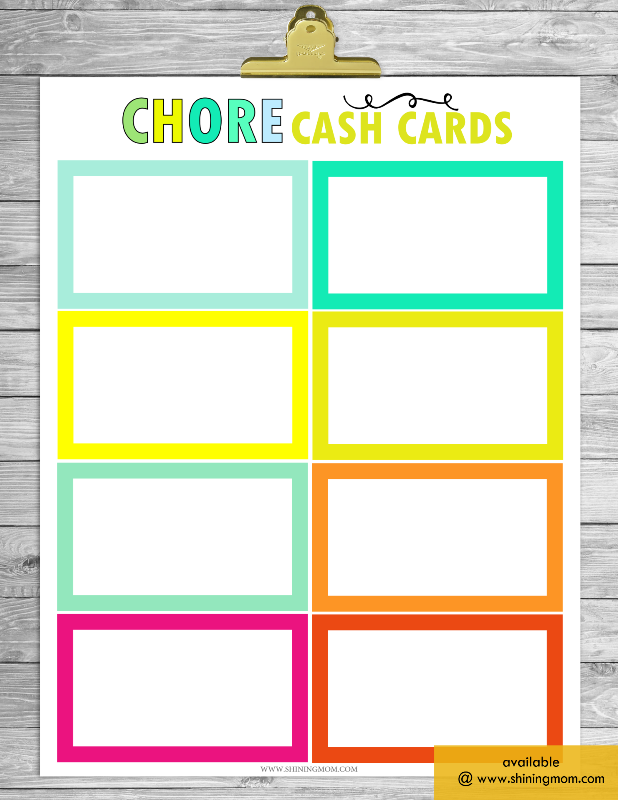 free chore chart cash cards blank template