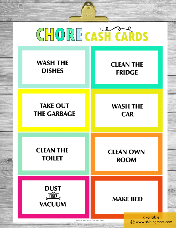 free chore chart cash cards