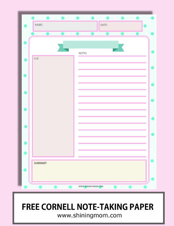 free cornell note taking paper