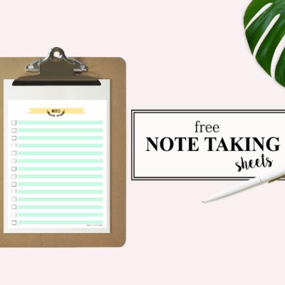 Happy Freebie Monday: Note Taking Sheets!