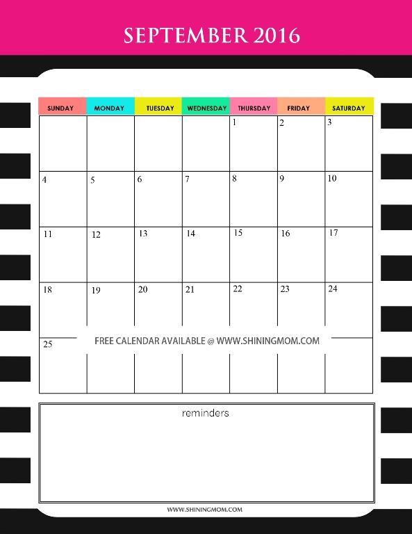 free printable September 2016 calendar cute