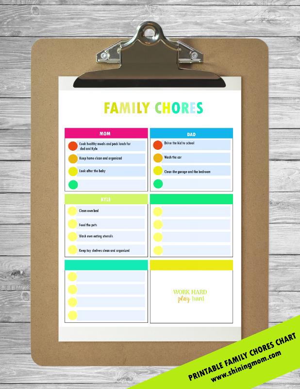 free printable family chores
