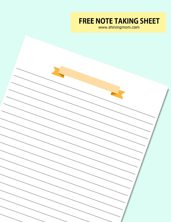 free printable note taking page