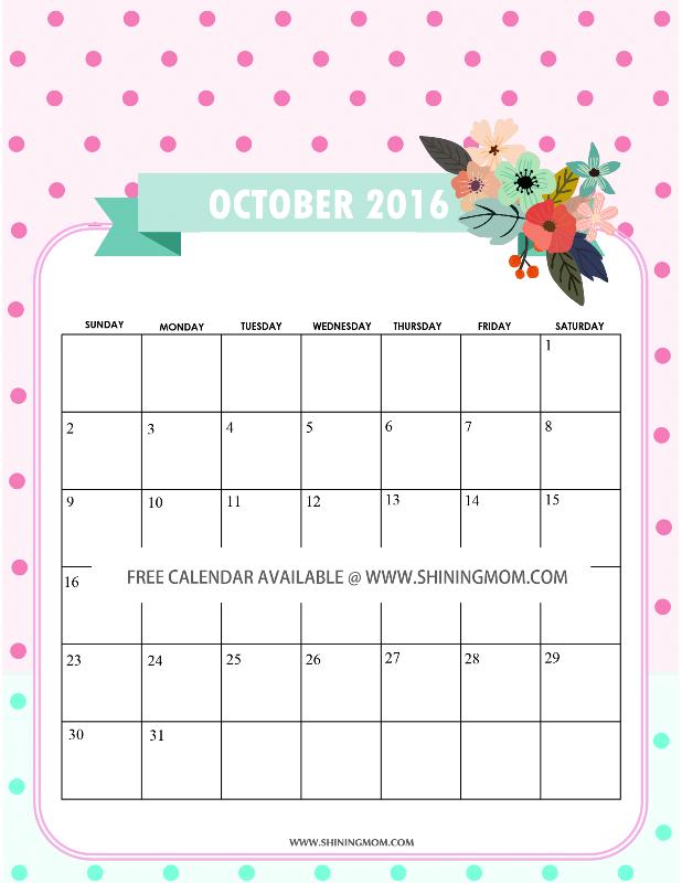 free printablle October 2016 calendar cute