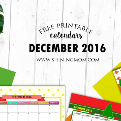 Free December 2016 Calendars: Christmas Themed Designs!