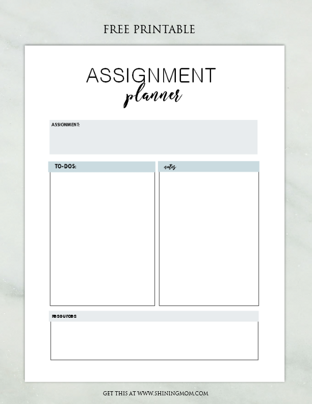 picture about Assignment Planner Printable known as ASSIGNMENT PLANNER 2