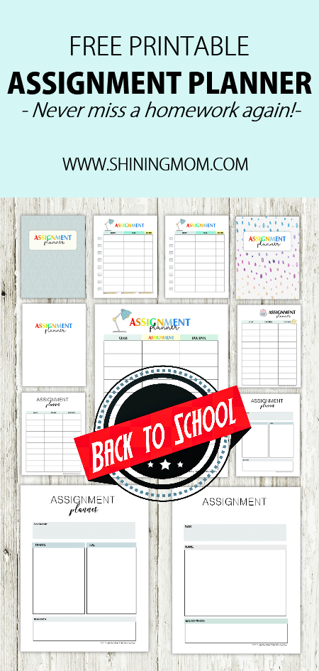 free printable assignment planner