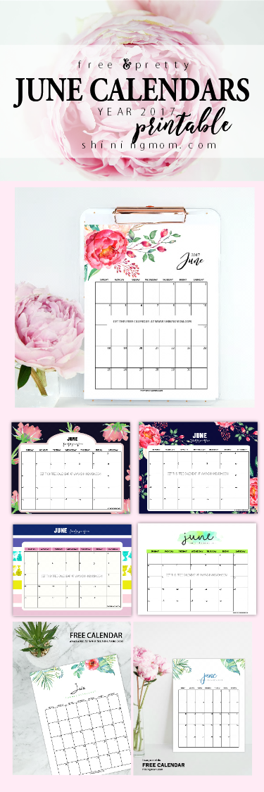 Free June 2017 calendars to print!