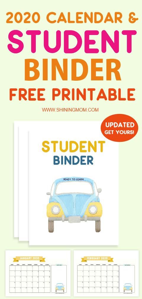 2020 calendar and student binder