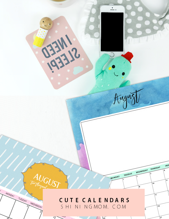 Cute August 2017 calendar printable