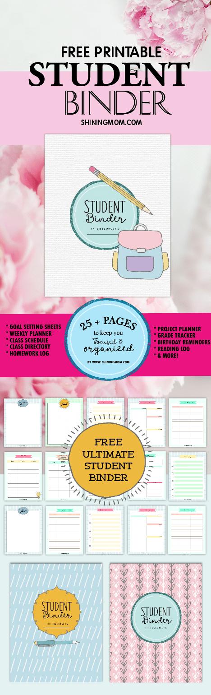 free printable student binder