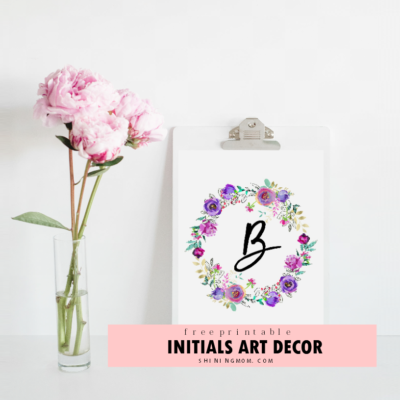 Purple and Mint FREE Initial Wall Art Printables