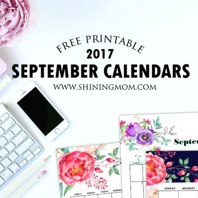 Free Printable September 2017 Calendar: 12 Beautiful Designs!